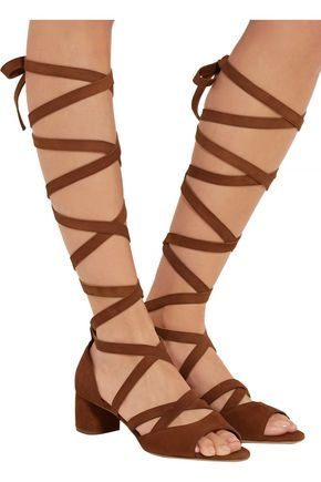 MIU MIU Lace-up suede sandals