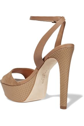 HALSTON HERITAGE Bobbie leather and suede sandals