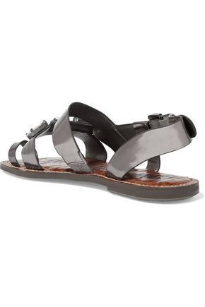 SAM EDELMAN Dailey embellished metallic glossed-leather sandals