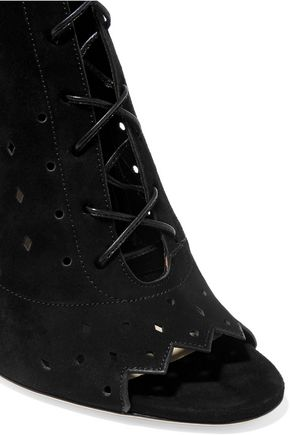 JIMMY CHOO Dei perforated suede peep-toe ankle boots