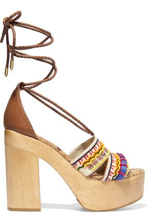 SAM EDELMAN Mel embellished canvas platform sandals