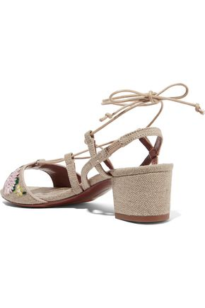 TABITHA SIMMONS Lori Meadow floral-embroidered linen sandals
