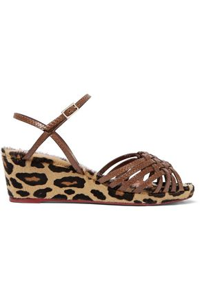CHARLOTTE OLYMPIA Dilys leather and leopard-print calf hair wedge sandals