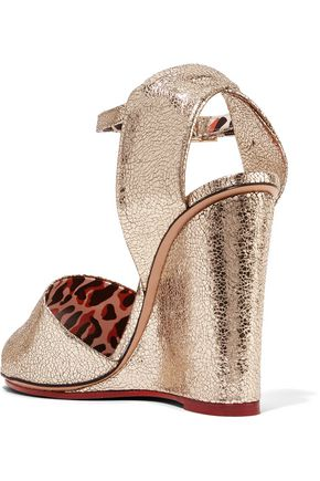 CHARLOTTE OLYMPIA Mischievous metallic textured-leather wedge sandals