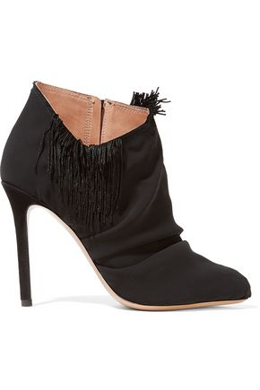 MAISON MARGIELA Suede-trimmed fringed chiffon ankle boots