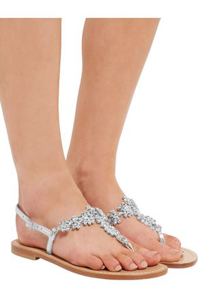 MUSA Crystal-embellished metallic leather sandals