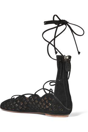 ALAÏA Carine laser-cut suede sandals