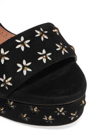 ALAÏA Embellished laser-cut suede platform sandals