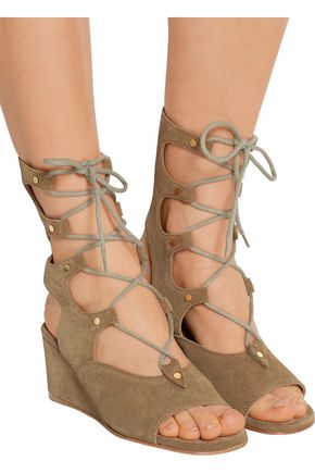 CHLOÉ Foster lace-up cutout suede wedge sandals