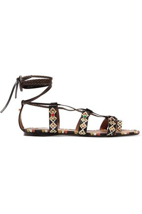 VALENTINO Embellished painted textured-leather sandals