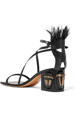 VALENTINO Feather-embellished leather sandals