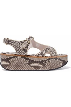 VICTORIA BECKHAM Leather-trimmed python platform sandals