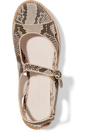 VICTORIA BECKHAM Leather-trimmed python platform sandals