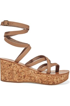 K.JACQUES ST. TROPEZ Tautavel leather and cork wedge sandals