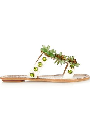 TORY BURCH Sydney embellished patent-leather sandals