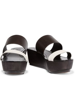 TORY BURCH Smooth and lizard-effect leather platform sandals