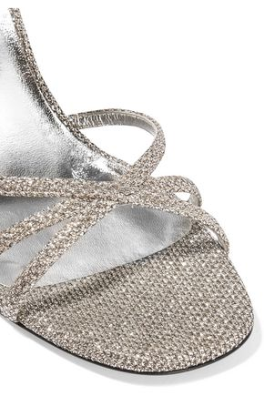 SAINT LAURENT Kate glittered mesh sandals