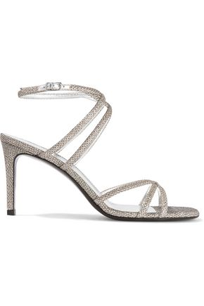 SAINT LAURENT Kate glittered mesh sandals
