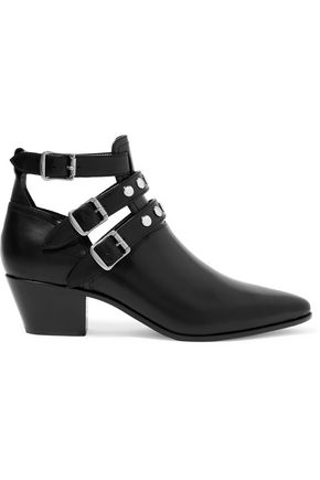 SAINT LAURENT Cutout glossed-leather ankle boots