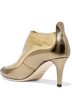 JIMMY CHOO Dierdre two-tone metallic PVC and textured-leather ankle boots