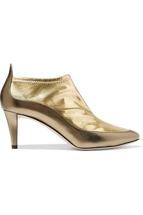JIMMY CHOO LONDON Dierdre two-tone metallic PVC and textured-leather ankle boots