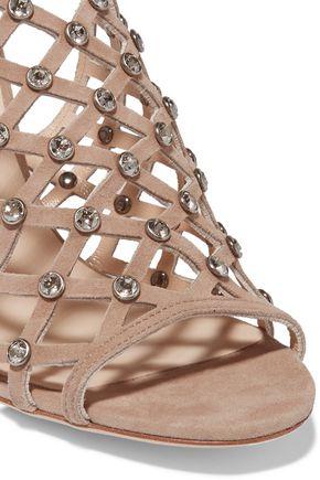 JIMMY CHOO LONDON Donnie crystal-embellished suede sandals
