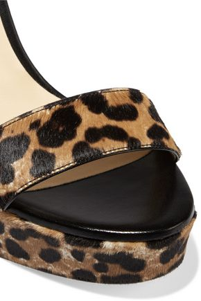 JIMMY CHOO LONDON Holly leopard-print calf hair platform sandals