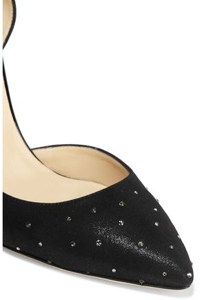JIMMY CHOO Lucy crystal-embellished glossed-suede pumps