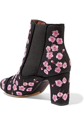 TABITHA SIMMONS Micki nubuck-trimmed velvet ankle boots