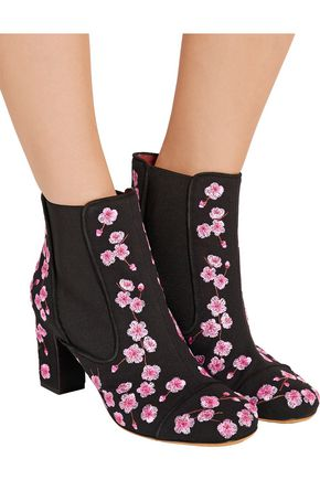 TABITHA SIMMONS Micki floral-print nubuck ankle boots
