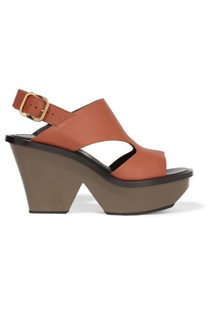 MARNI Leather slingback platform sandals