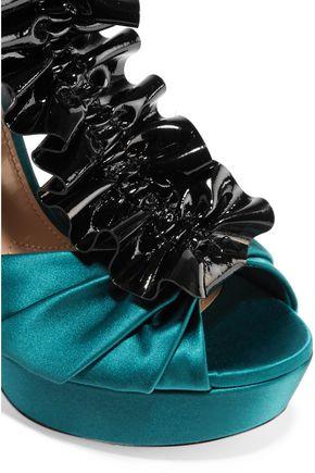 MIU MIU Ruffled satin and suede sandals