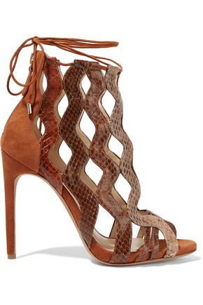ALEXANDRE BIRMAN Loretta cutout watersnake and suede sandals