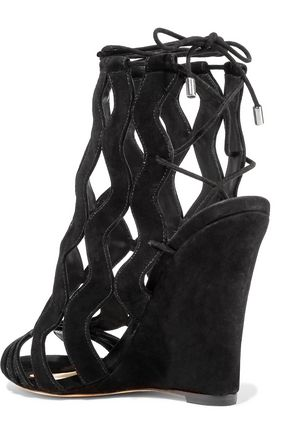 ALEXANDRE BIRMAN Loretta cutout suede wedge sandals