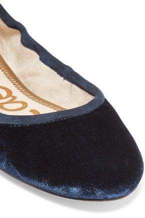 SAM EDELMAN Fynn suede and leather-trimmed velvet ballet flats
