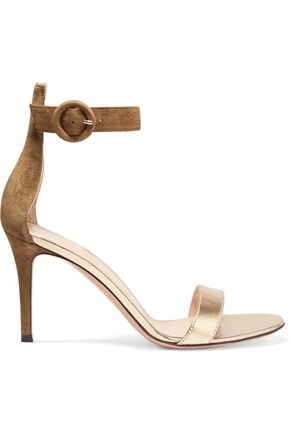 GIANVITO ROSSI Portofino suede and metallic leather sandals