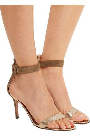 GIANVITO ROSSI Portofino suede and metallic leather sandals