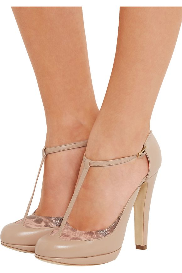 Linda snake-trimmed leather Mary Jane pumps | MALONE SOULIERS | Sale up to  70% off | THE OUTNET