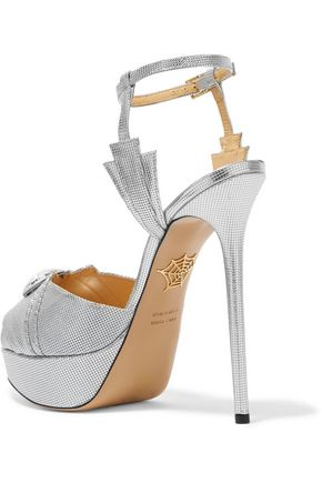 CHARLOTTE OLYMPIA Sky Scraper embellished metallic textured-leather sandals
