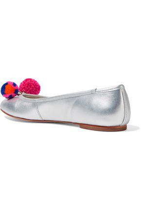 SOPHIA WEBSTER Bo pompom-embellished metallic leather ballet flats