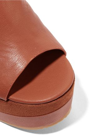 SEE BY CHLOÉ Suede-trimmed leather platform sandals
