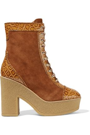 SEE BY CHLOÉ Suede and croc-effect leather lace-up boots