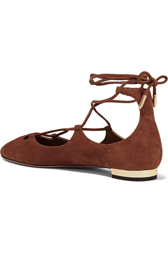 Dancer lace-up suede ballet flats   AQUAZZURA   Sale up to 70% off   THE  OUTNET
