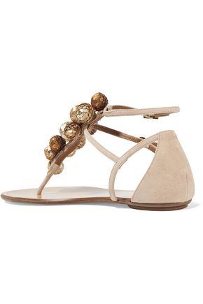 AQUAZZURA Disco Infra embellished suede sandals