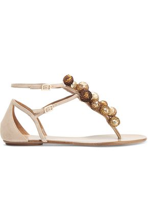 AQUAZZURA Disco Infra embellished suede sandals