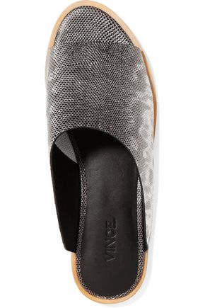 VINCE. Lynnis lizard-effect leather slides