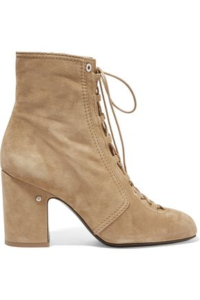 LAURENCE DACADE Milly leather-trimmed lace ankle boots