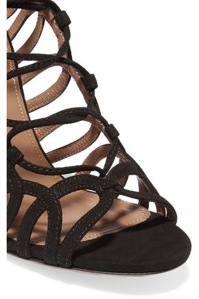 AQUAZZURA Oh Lala lace-up suede sandals