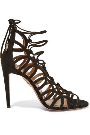 AQUAZZURA Oh Lala lace-up suede sandals