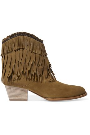 AQUAZZURA Pocahontas fringed suede ankle boots